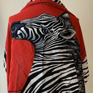 Diane Gilman Silk Scarf Zebra Black Red White